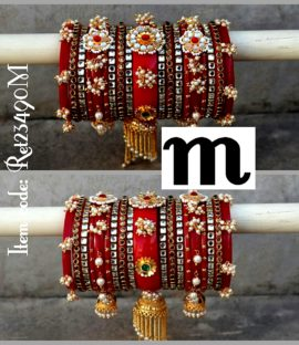Rajwadi suhag bangle set with hanging jhoomar design