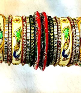 Peacock and Raja Rani design Rajwadi bridal bangle set