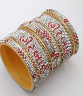 MBSKART Bridal Bangles Set With Name Suhag Chuda/Dulhan Chuda Set