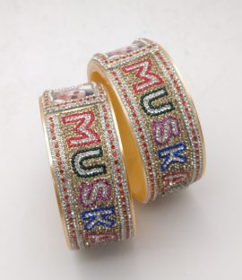 Bangles With Name And Photo ,bangle pair double line font in multi color