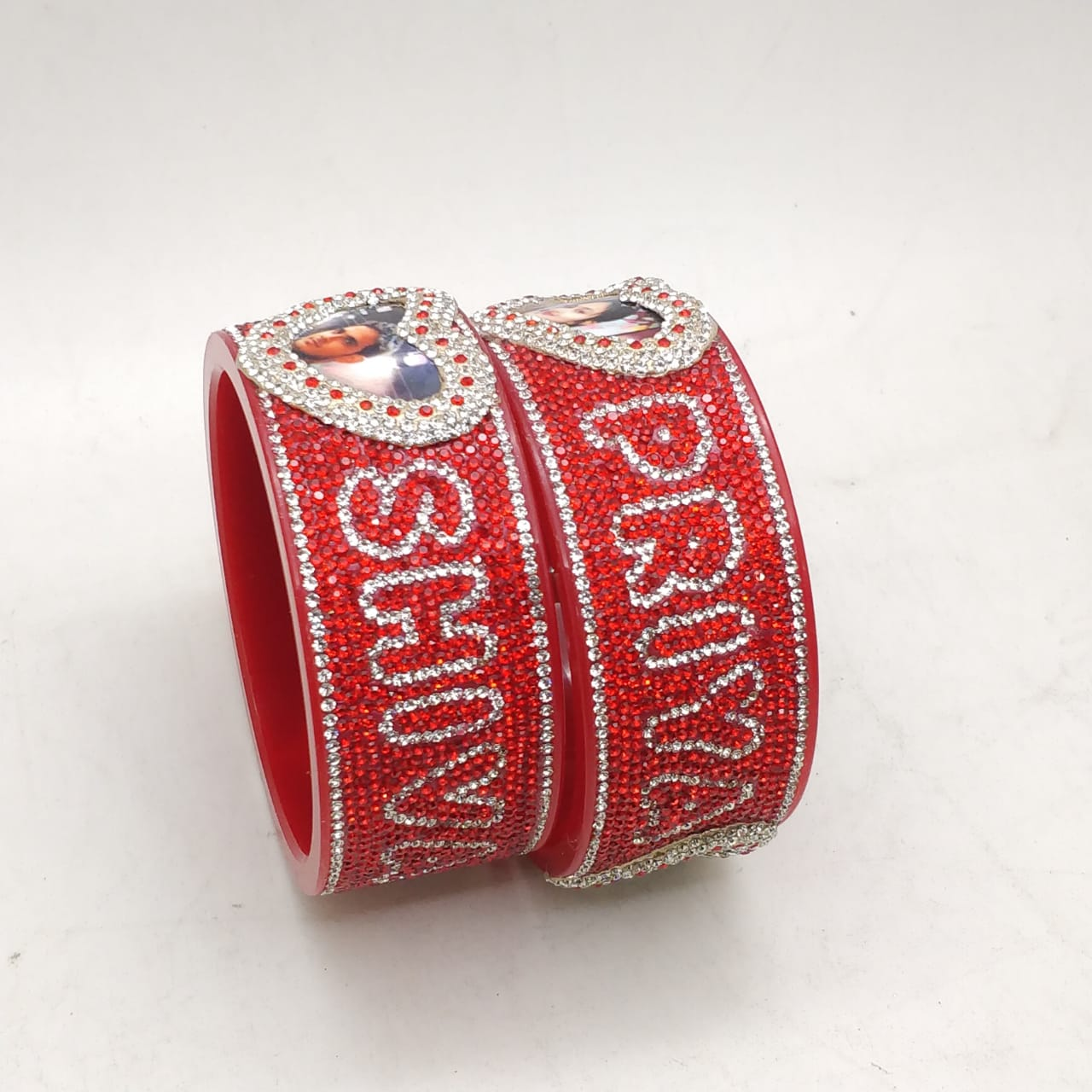 Bangles With Name and Photo Double line font Design