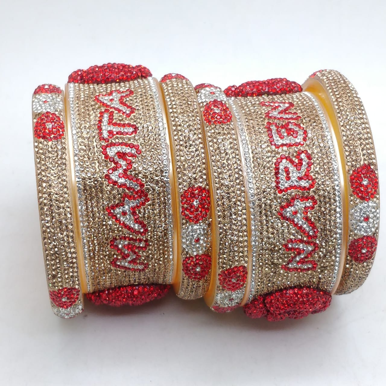 Bangles With Name and Rose Design Shot Set