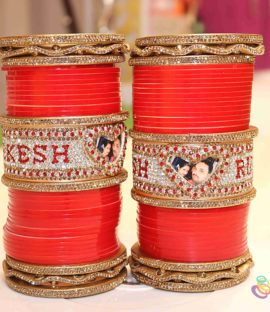 Punjabi Bridal Chura Zigzag Design With Name and Photo Bangles