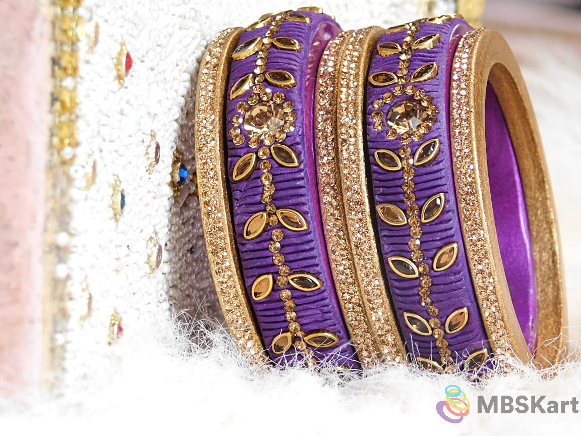Rajasthani Lakh Bangle set, Matte finish and Kundan Work