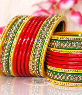 Rajasthani Lakh Chura,Traditional Red-Green-Yellow Pattern