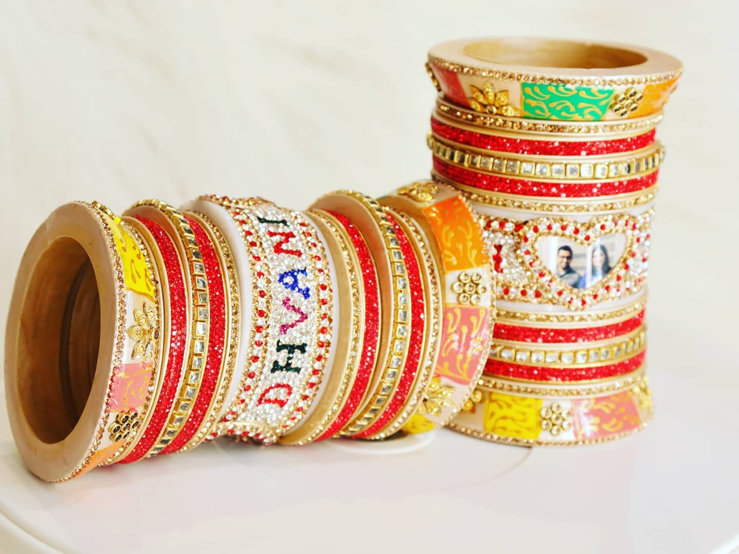 Rajwadi Lakh Bangle set With name And Photo