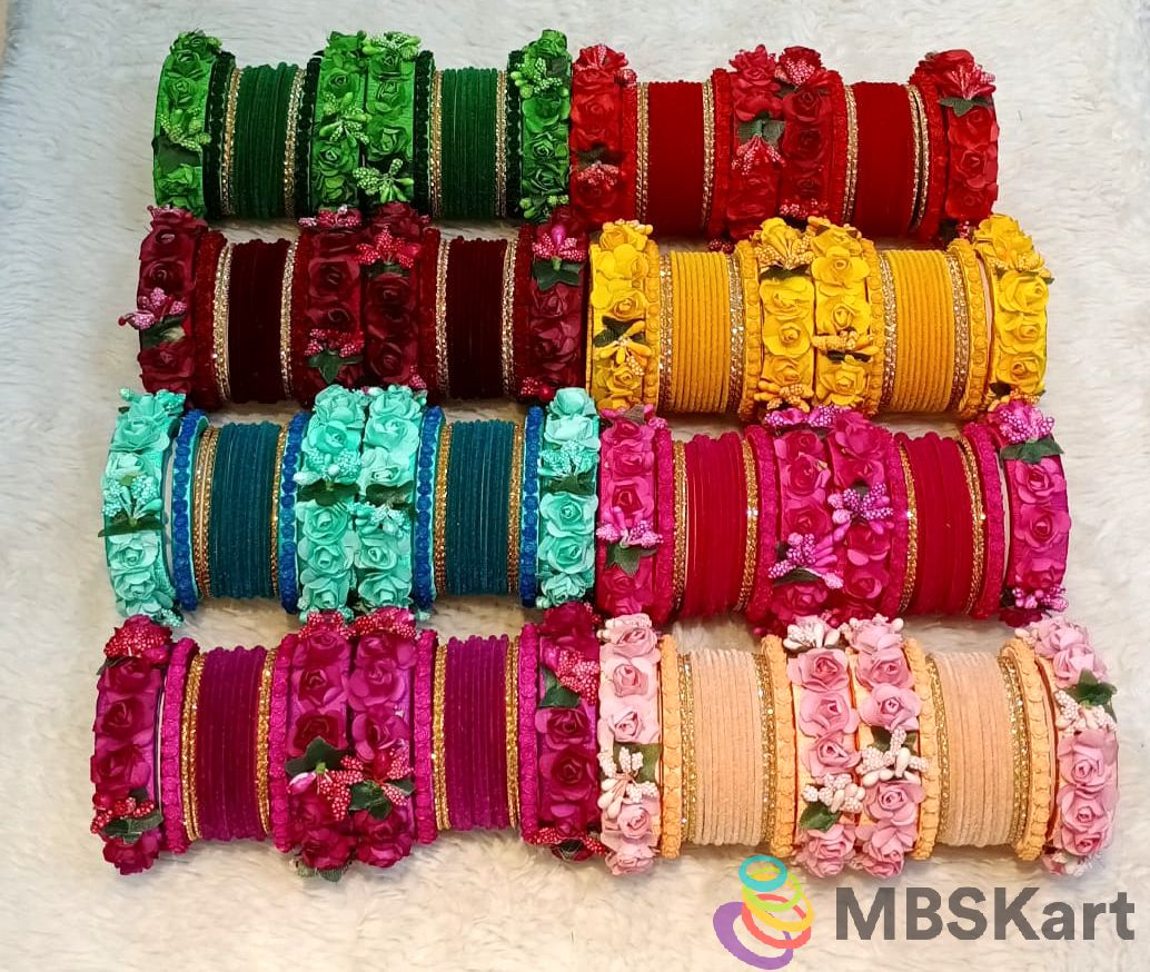 Bridal Wedding chooda in thread bangles with flower Design