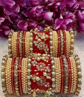 Rajwadi bridal Chooda With moti work and Flower Design